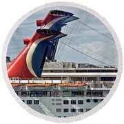 Cruise Ships In Cozumel, Mexico Round Beach Towel