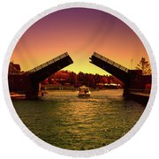 Round Beach Towel featuring the photograph Cruisin In Color by Rachel Cohen