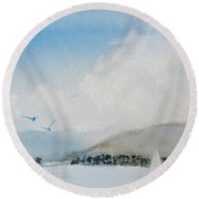 Cruising In Company Along The Tasmania Coast  Round Beach Towel