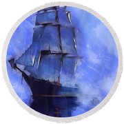 Cruising The Open Seas Round Beach Towel