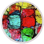 Crumbling Stone Wall Round Beach Towel
