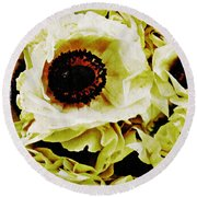Round Beach Towel featuring the photograph Crumpled White Poppies by Sarah Loft