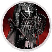 Crusader Warrior - Medieval Warfare Round Beach Towel