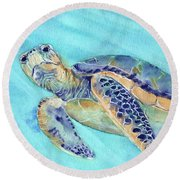 Round Beach Towel featuring the painting Crush by Betsy Hackett