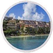 Round Beach Towel featuring the photograph Cruz Bay, St. John by Adam Romanowicz