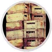 Cruzcampo Beer In Wooden Cases Poster Round Beach Towel