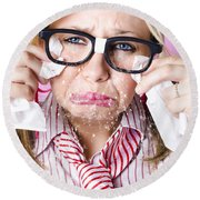 Cry Baby Businesswoman Crying A Waterfall Of Tears Round Beach Towel