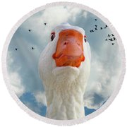 Cry Of The Wild Goose Round Beach Towel