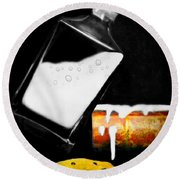 Round Beach Towel featuring the photograph Crying Over Spilled Milk by Diana Angstadt