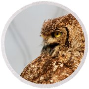 Round Beach Towel featuring the photograph Crying Spotted Eagle-owl  by Nick Biemans