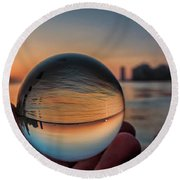 Crystal Ball On Chicago's Lakefront At Sunrise Round Beach Towel
