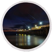 Crystal Beach Pier Blue Hour  Round Beach Towel