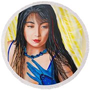 Crystal Blue China Girl Round Beach Towel