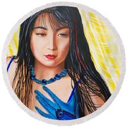 Crystal Blue China Girl            From   The Attitude Girls  Round Beach Towel