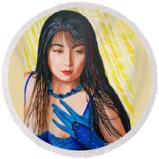 Blue Cat Productions Crystal Blue China Girl Round Beach Towel