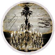 Crystal Chandelier Gold And Silver Round Beach Towel