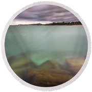 Round Beach Towel featuring the photograph Crystal Clear Lake Michigan Waters by Adam Romanowicz