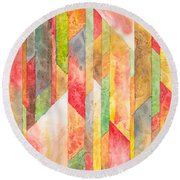 Crystal Colors Watercolor Round Beach Towel