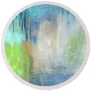 Round Beach Towel featuring the painting Crystal Deep  by Michal Mitak Mahgerefteh