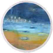 Round Beach Towel featuring the painting Crystal Deep Waters by Michal Mitak Mahgerefteh