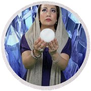 Crystal Goddess Round Beach Towel