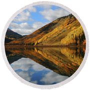 Round Beach Towel featuring the photograph Crystal Lake Autumn Reflection by Jetson Nguyen