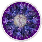 Crystal Magic Mandala Round Beach Towel by Leanne Seymour