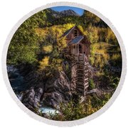 Crystal Mill Colorado Round Beach Towel