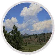Round Beach Towel featuring the photograph Crystal Peak Colorado by Jeanette French