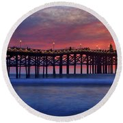 Crystal Pier In Pacific Beach Decorated With Christmas Lights Round Beach Towel