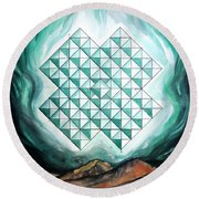 Crystal-shaped Huge Space Shuttle Of Alien Civilization Round Beach Towel