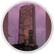 Crystal Skyscraper Sunset Round Beach Towel