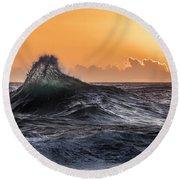 Crystal Wave Sunset Napali Coast Kauai Hawaii Round Beach Towel