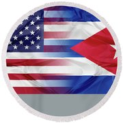 Cuba And Usa Flags Round Beach Towel