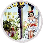 Cuba, Cuban Dancing Party Woman Round Beach Towel