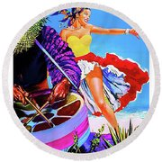 Cuba, Dancing Girl On The Beach Round Beach Towel