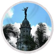 Cuba Rooftop W Protection Statue Round Beach Towel