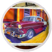 Cuban Art Cars Round Beach Towel