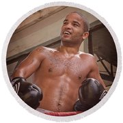 Round Beach Towel featuring the photograph Cuban Boxer Ready For Sparring by Joan Carroll