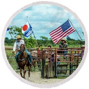 Round Beach Towel featuring the photograph Cuban Cowboys by Lou Novick