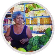 Cuban Fruit Stand II Round Beach Towel