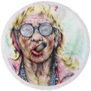 Cuban Greatgrandma Round Beach Towel