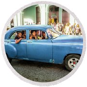 Round Beach Towel featuring the photograph Cuban Taxi by Lou Novick