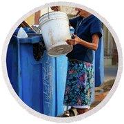 Cuban Woman With Cigar Round Beach Towel