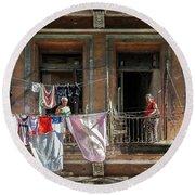 Cuban Women Hanging Laundry In Havana Cuba Round Beach Towel by Charles Harden