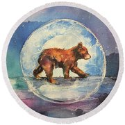 Round Beach Towel featuring the painting Cubbie Bear by Christy Freeman