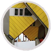 Round Beach Towel featuring the photograph Cube Houses Detail In Rotterdam by RicardMN Photography