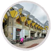 Round Beach Towel featuring the photograph Cube Houses In Rotterdam by RicardMN Photography