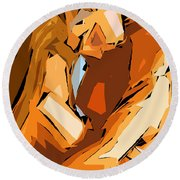 Cubism Series Ix Round Beach Towel by Rafael Salazar