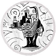 Cubist Waiter Round Beach Towel